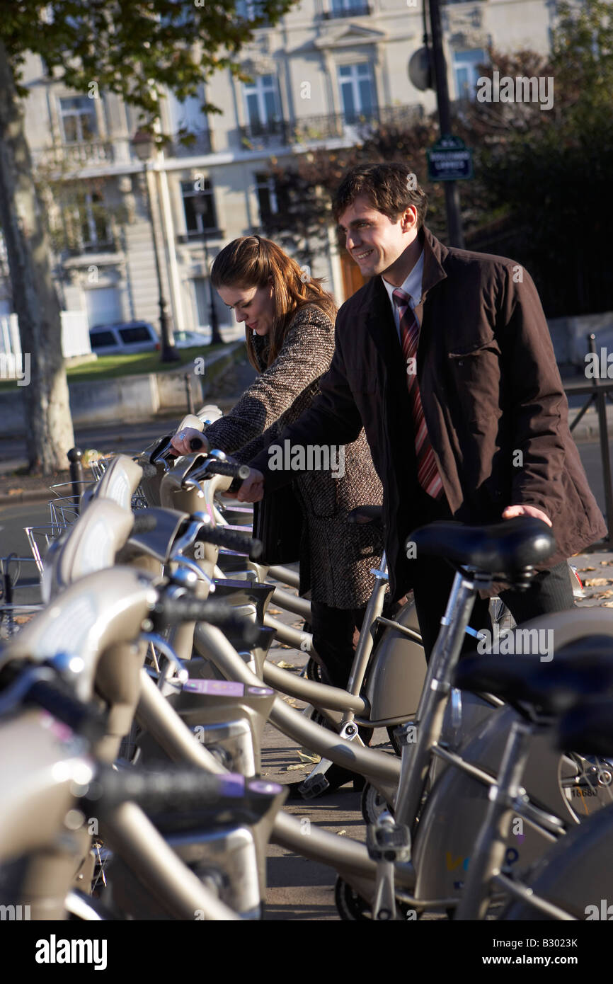 People Renting Bicycles, Paris, France Stock Photo