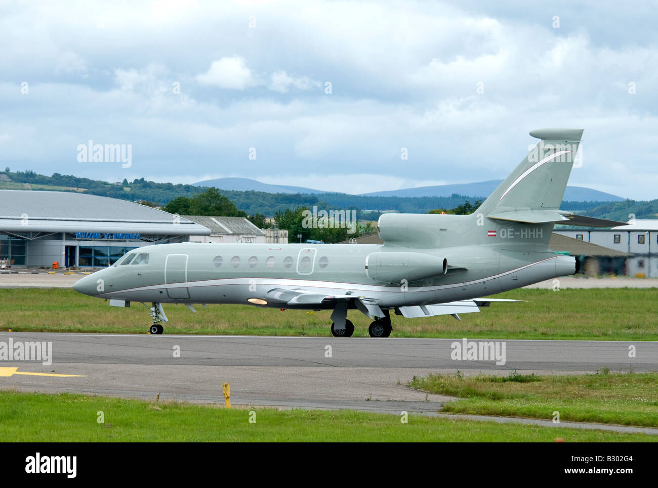 Dassault Falcon 50EX Three Engined Jet Aircraft arriving at Inverness Airport. - Stock Image