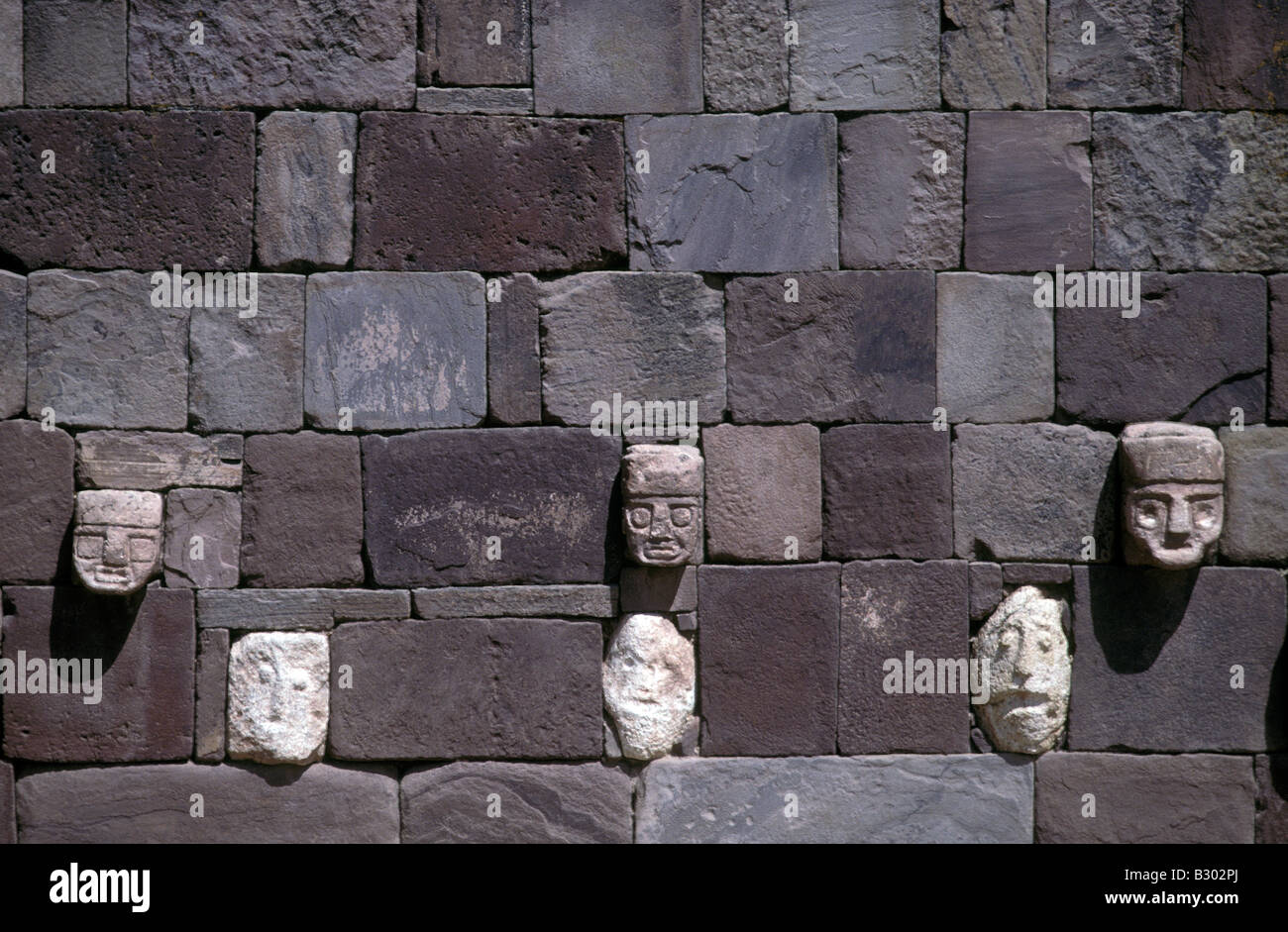 Precolumbian archaeological ruins at Tiwanaku on the shores of Lake Titicaca La Paz province Bolivia - Stock Image