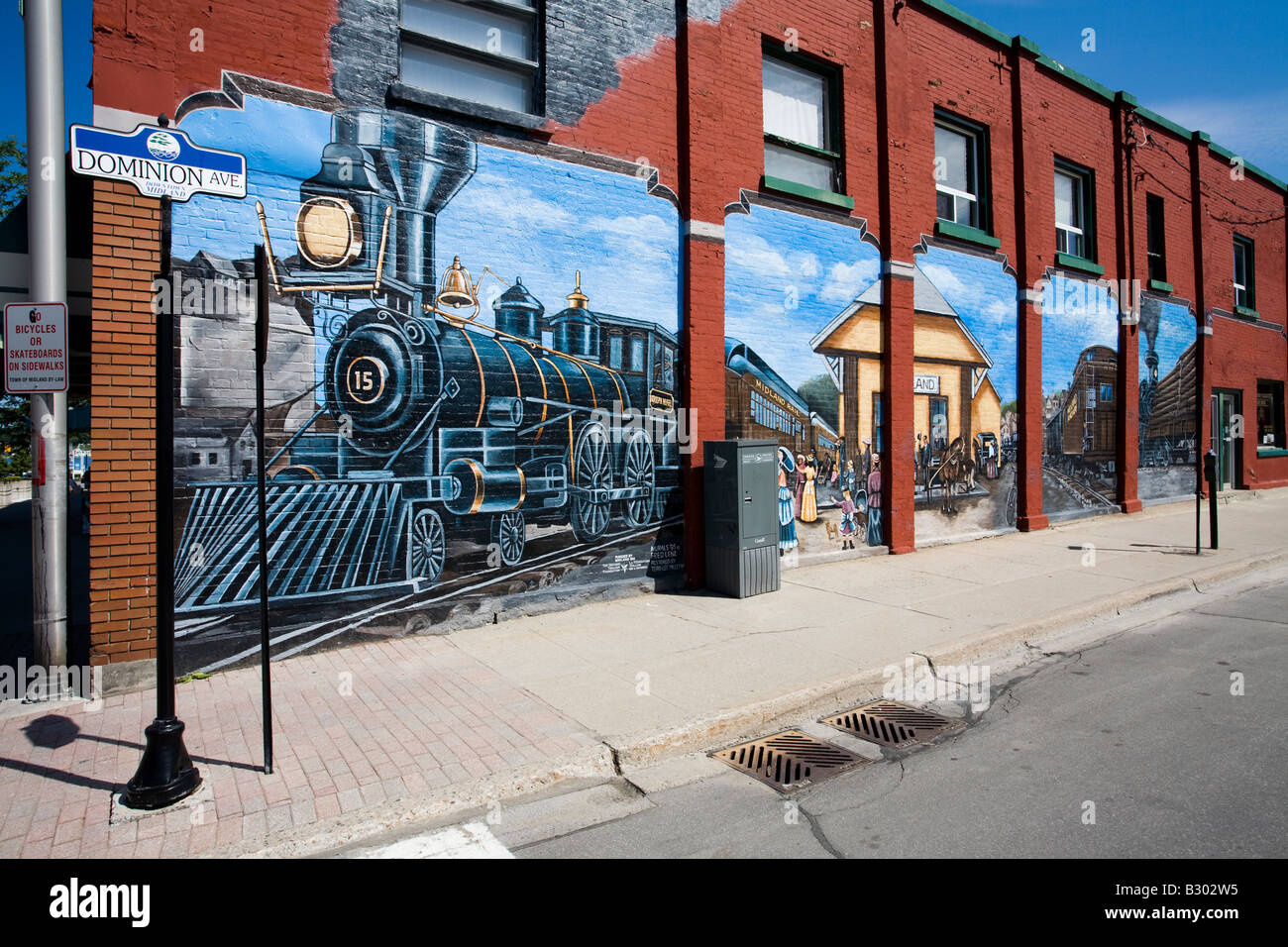 Train depot mural set in the 1890s by fred lenz midland bay ontario canada