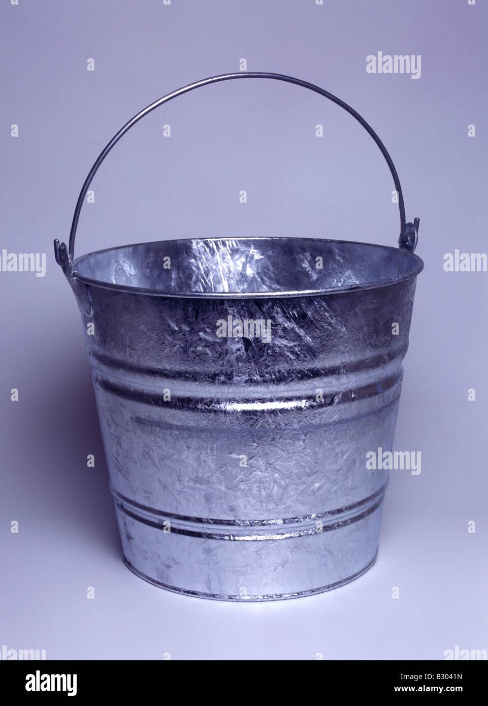galvanized bucket - Stock Image