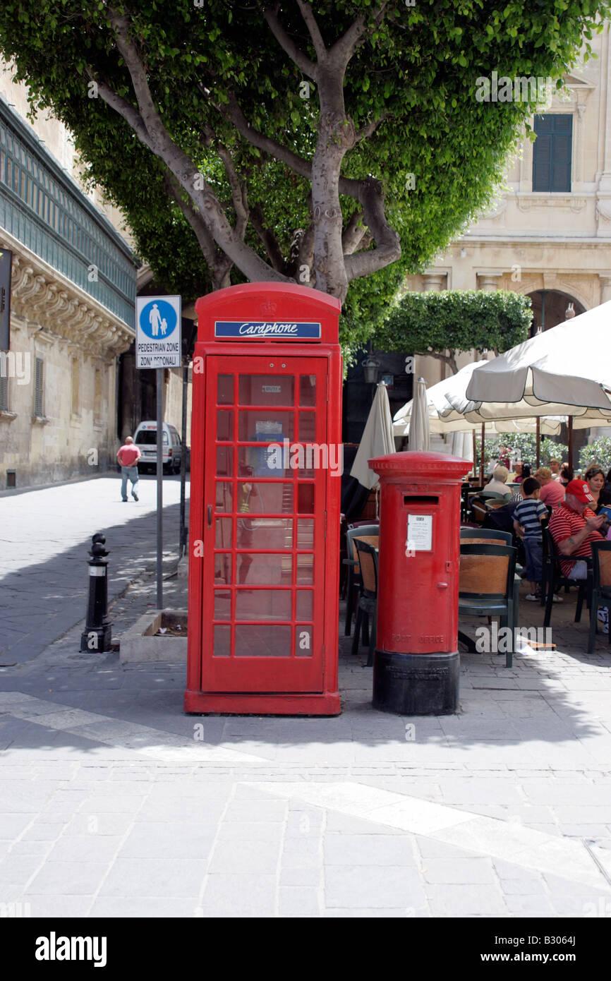 Telephone Kiosk and Post box - Stock Image