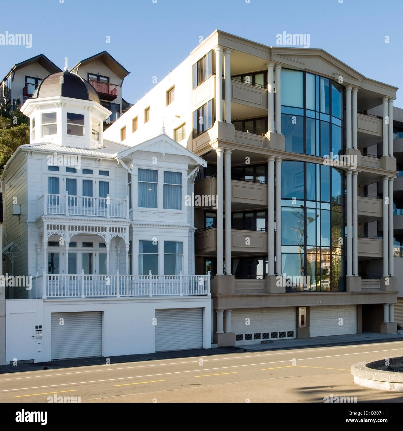 Harmonious blend of architectural styles, Wellington Harbour, New Zealand - Stock Image