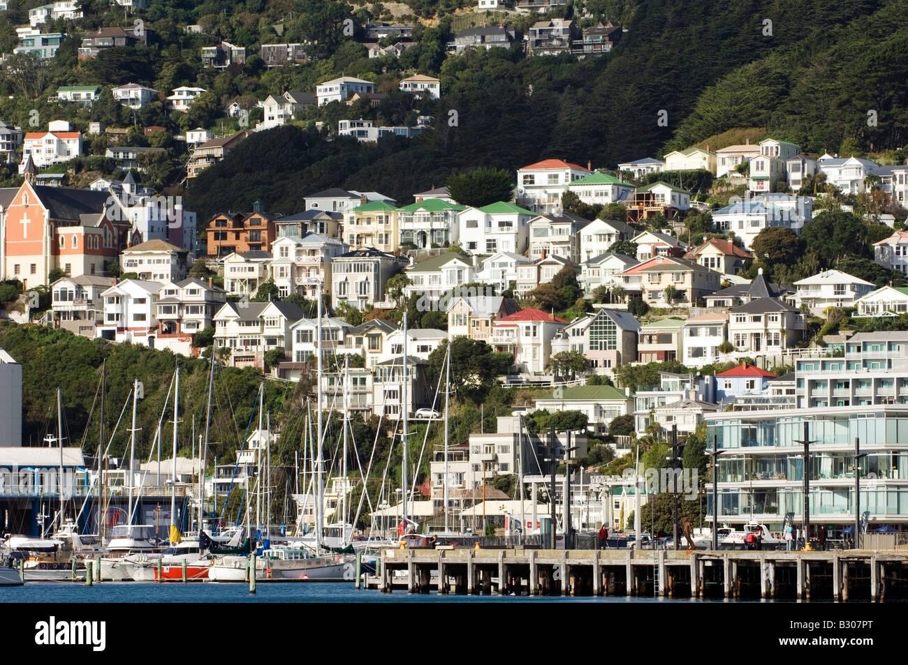 Unique hillside development overlooking Oriental Bay, Wellington, New Zealand - Stock Image