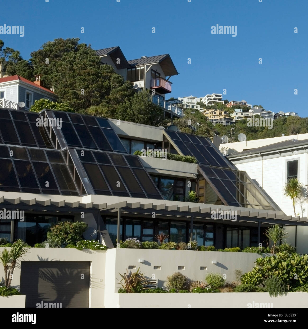 Postmodern apartments fronting Wellington Harbour, New Zealand - Stock Image