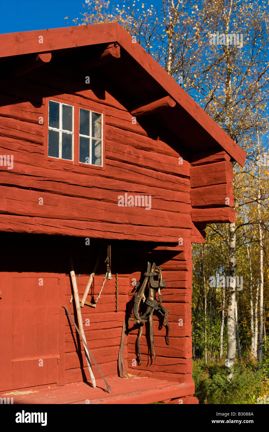 Old log cabin in the north of sweden - Stock Image