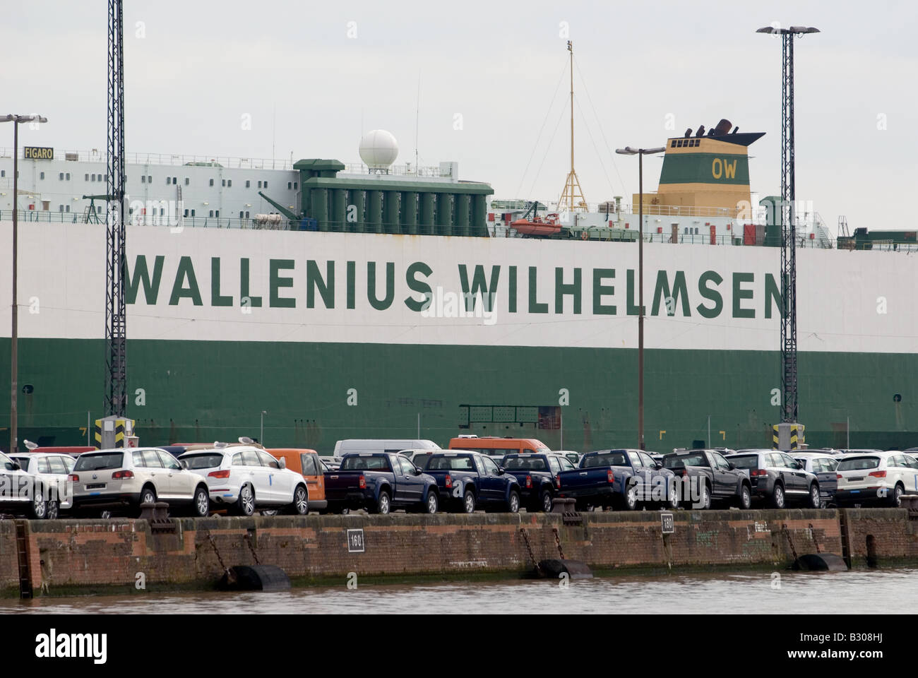 Cars for export on the quayside in Bremerhaven, Bremen, Germany. - Stock Image