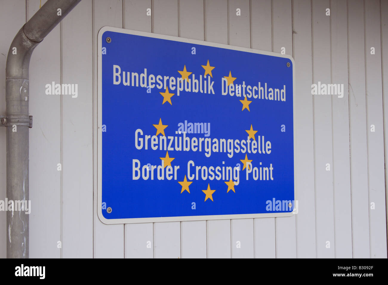 border crossing point sign at the pier of Seebruecke Heringsdorf, Baltic Sea, Germany, Europe Photo by Willy Matheisl - Stock Image
