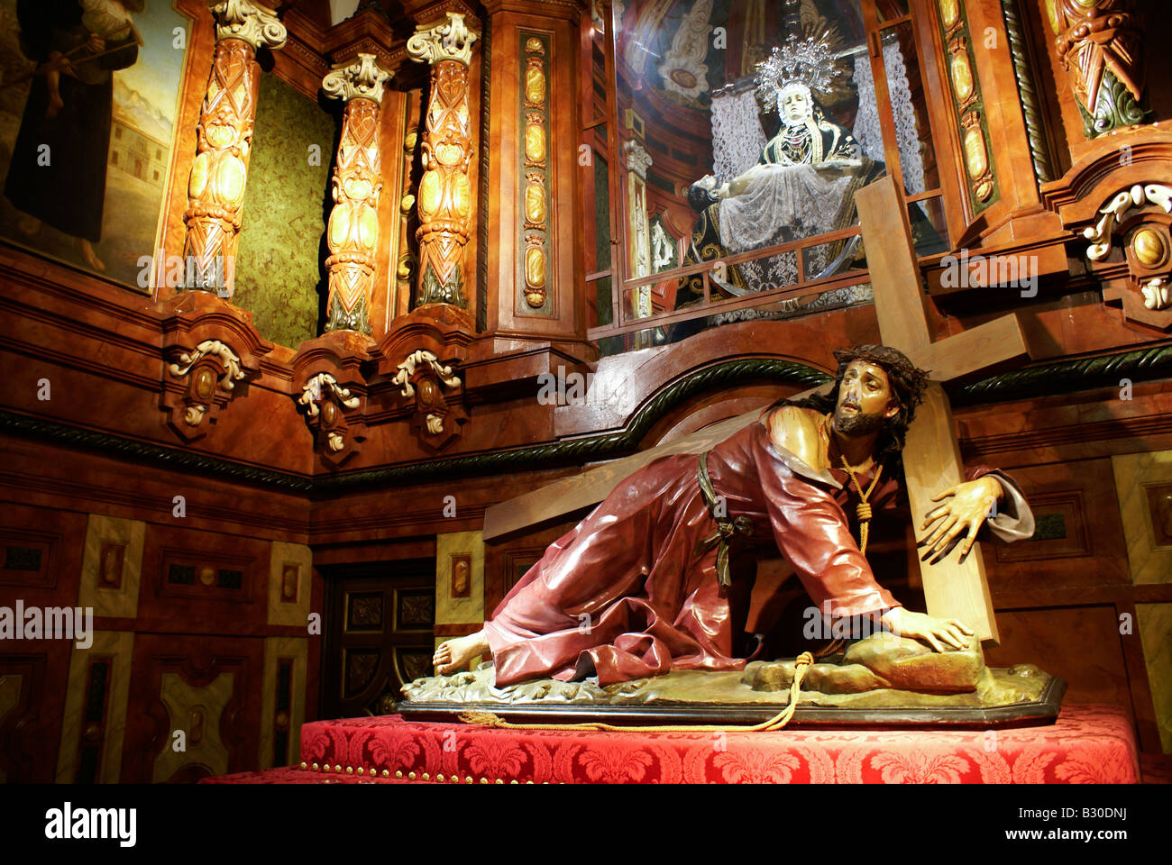 Wooden Sculpture Of Jesus In A Church Madrid