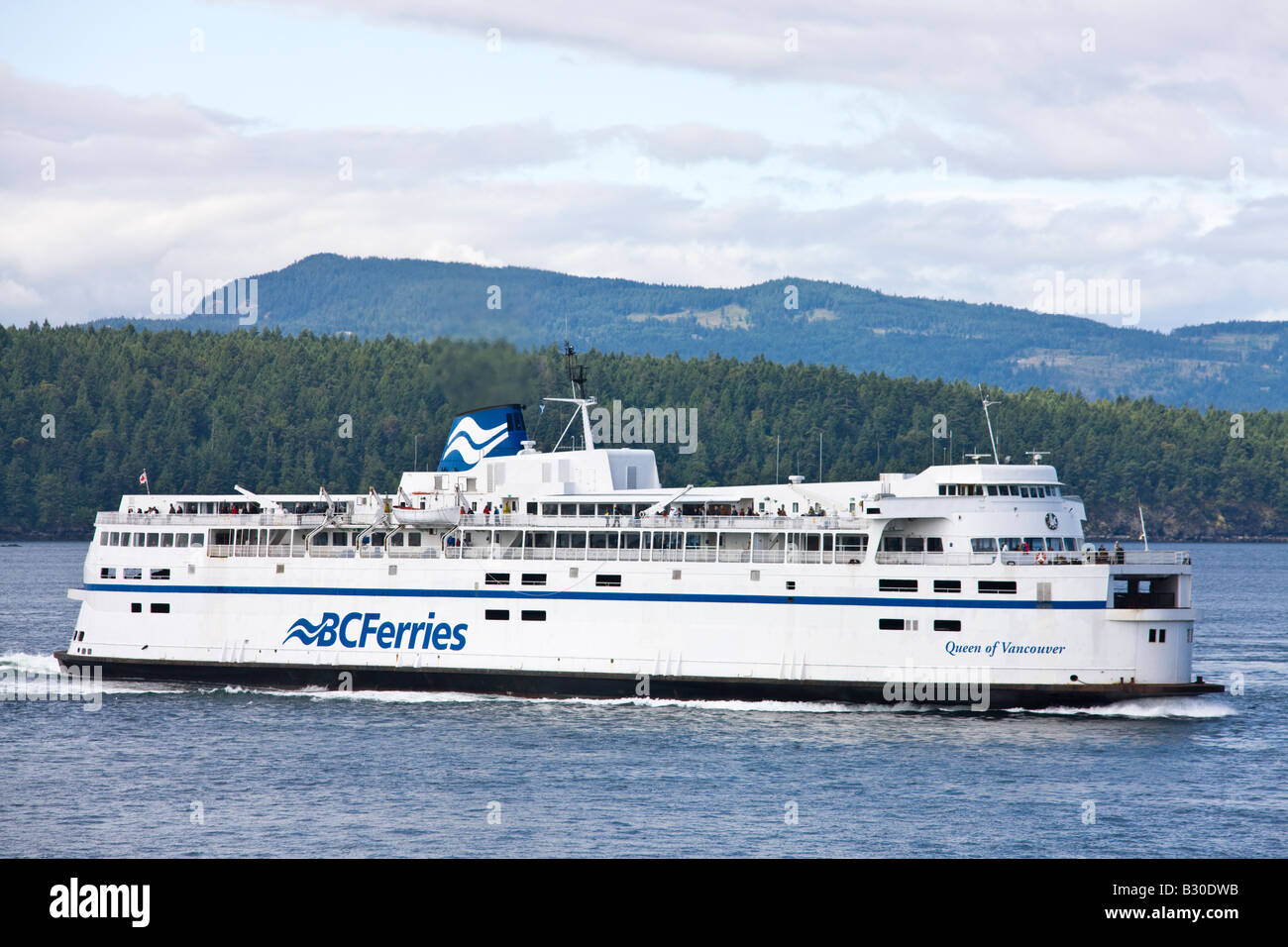 Queen of Vancouver ferry boat en route from to Victoria to Vancouver, from Swartz Bay to Tsawwassen - Stock Image