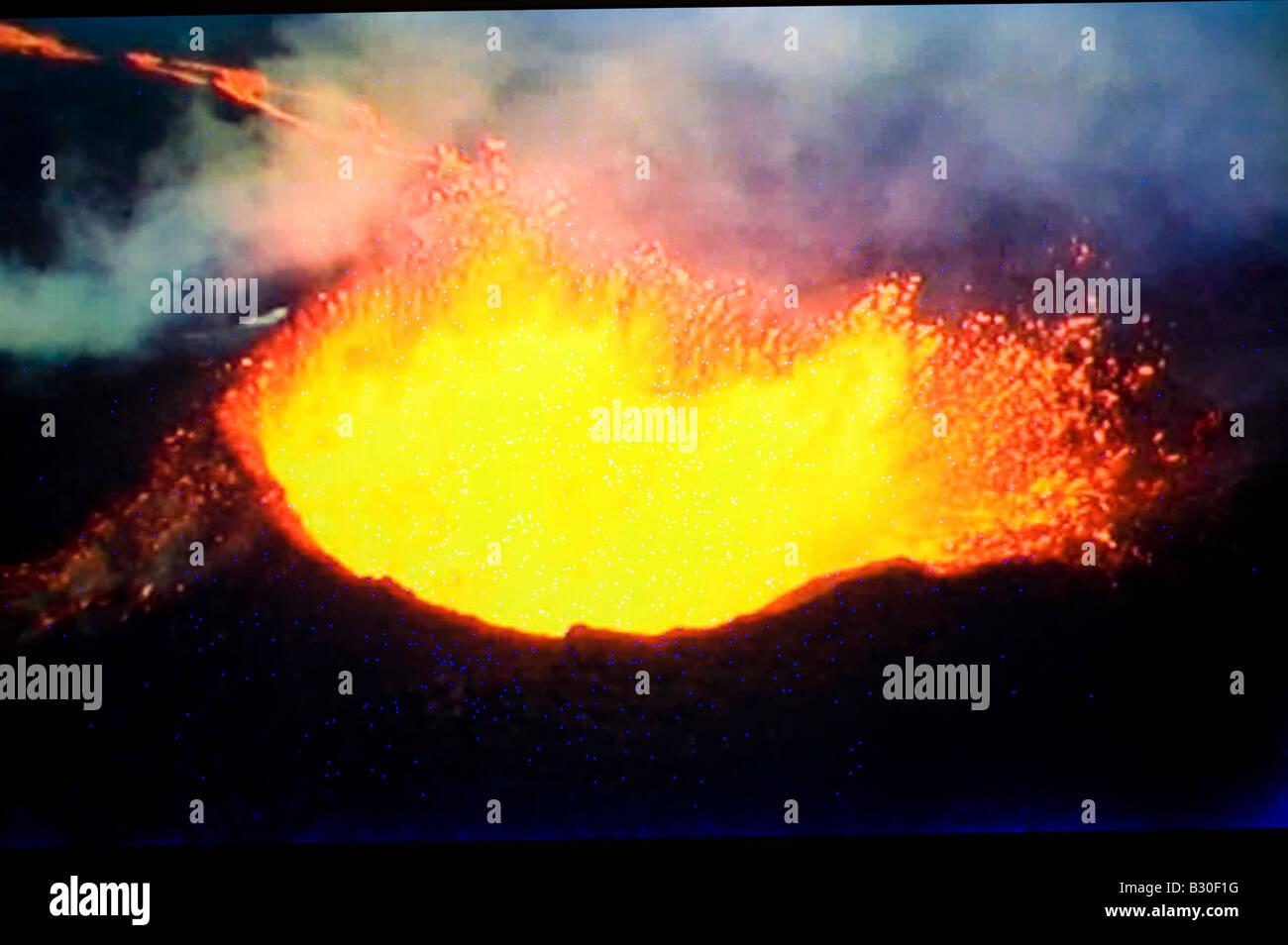 erupting volcano lava - Stock Image