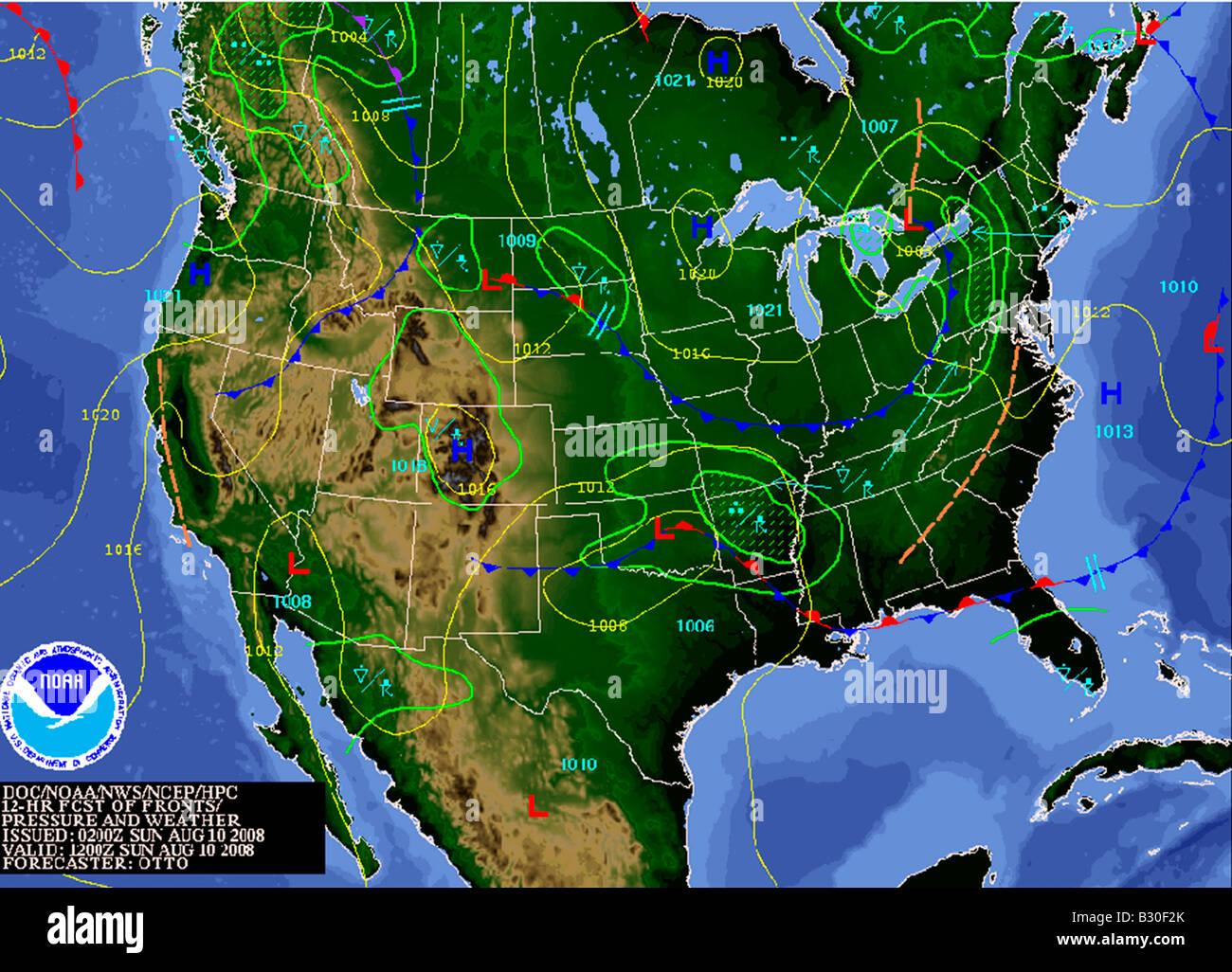 weather map North America Stock Photo: 19066171   Alamy
