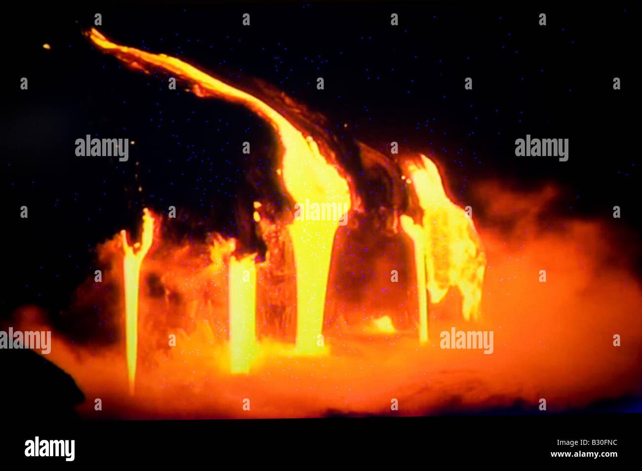 erupting volcano - Stock Image