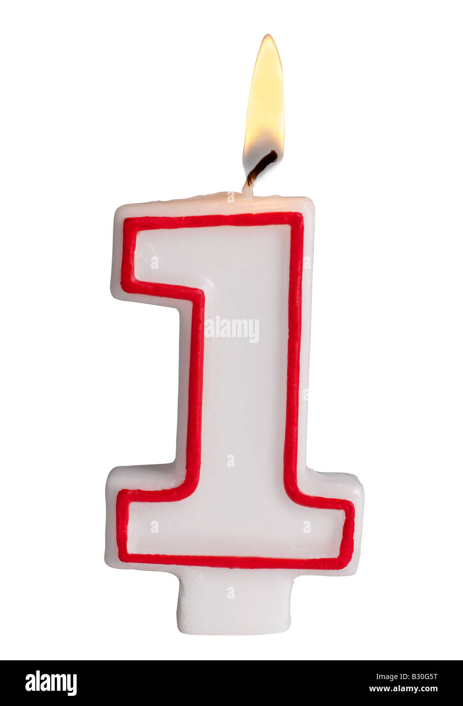 Number 1 candle - Stock Image