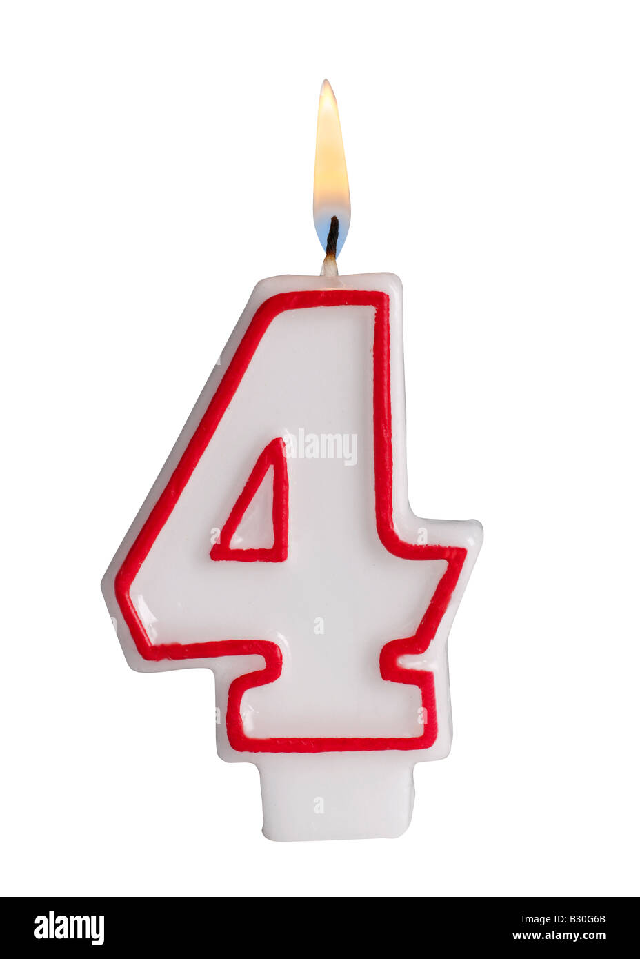 Number 4 candle - Stock Image