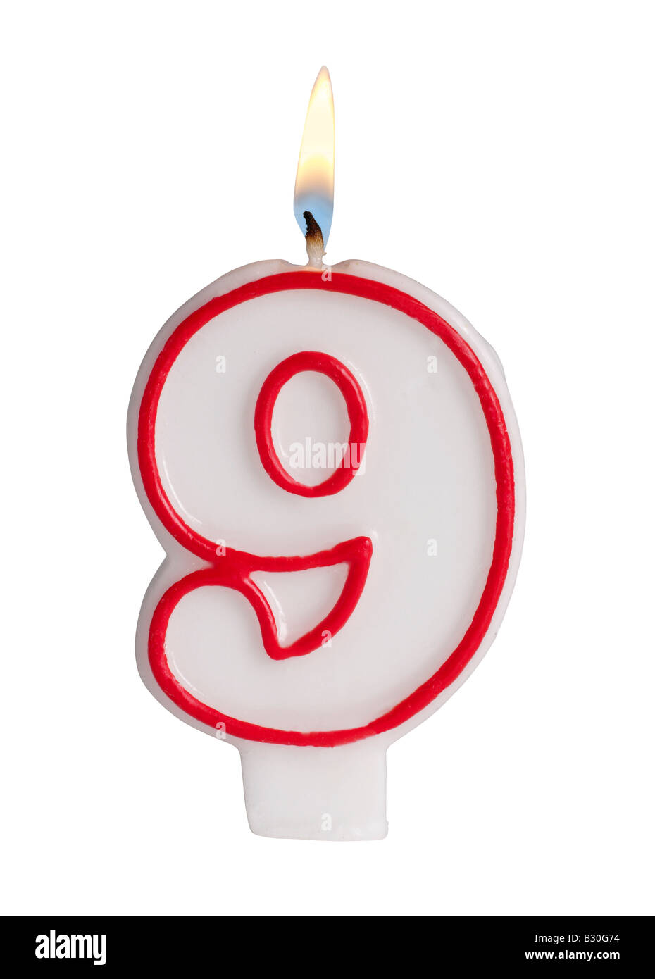 Number 9 candle - Stock Image