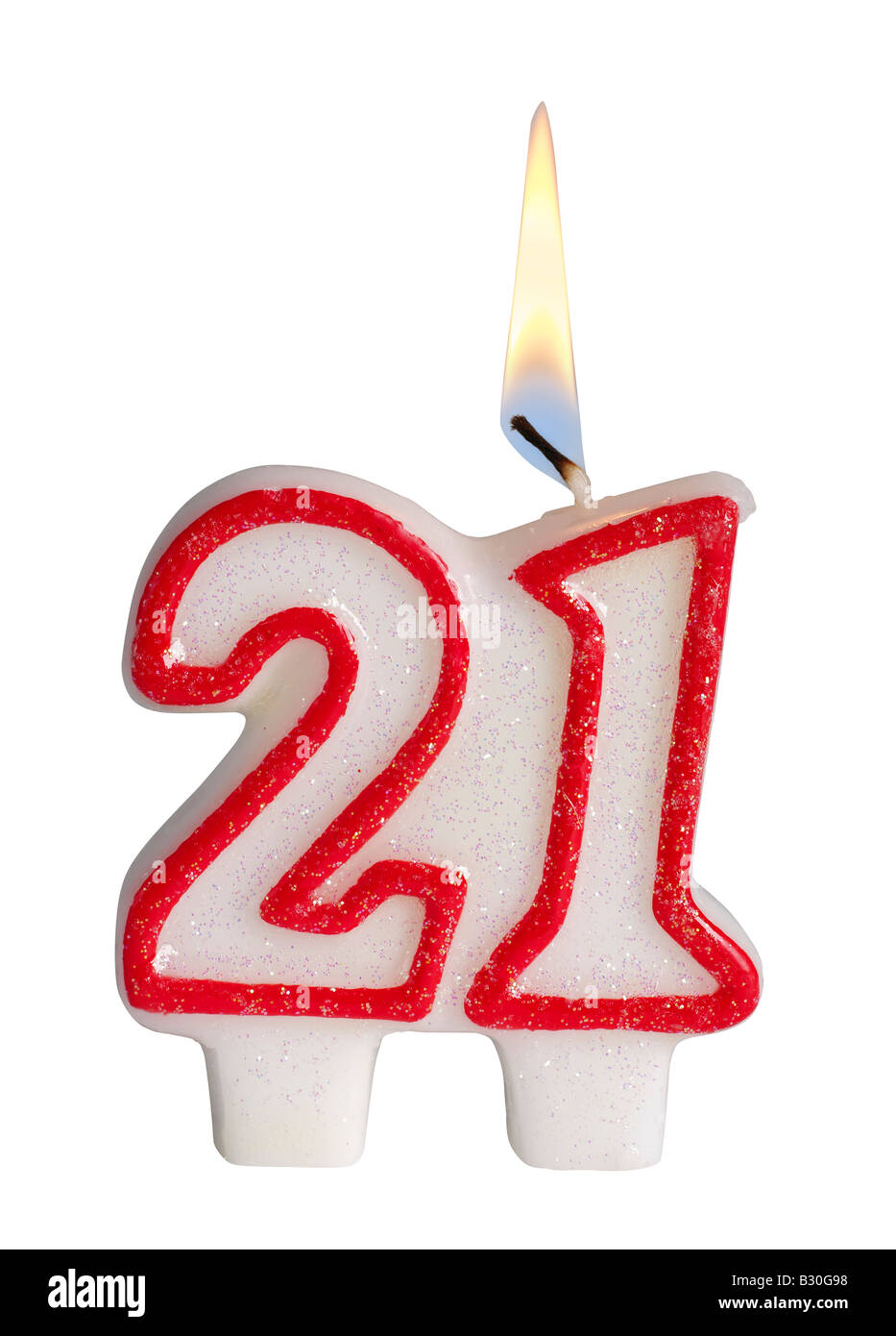 Number 21 candle - Stock Image