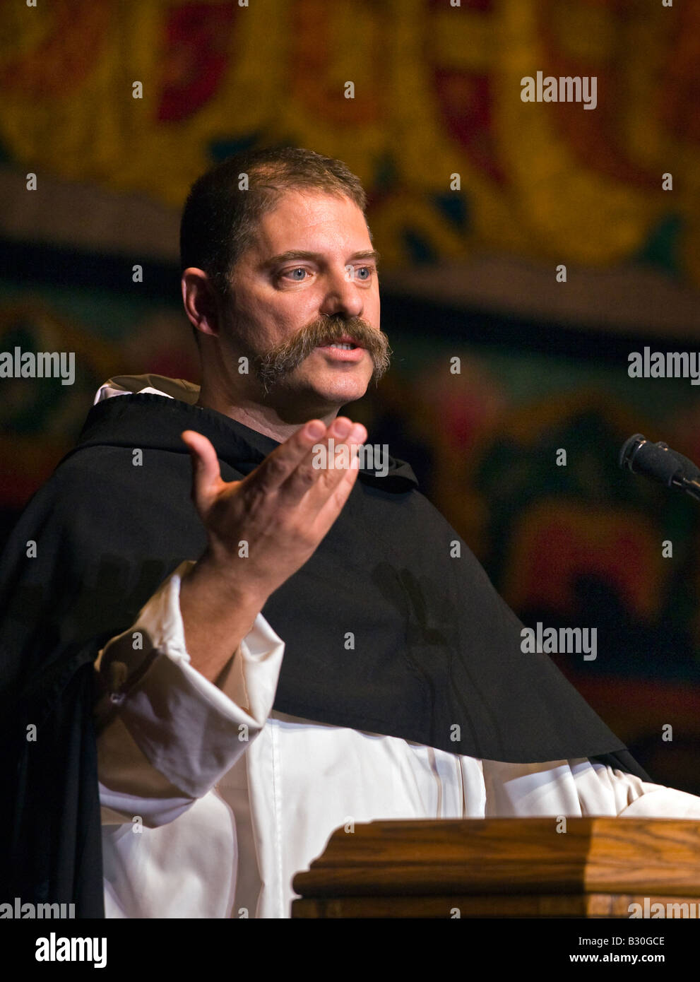 CATHOLIC FRIAR speaks at a DALAI LAMA teaching in October 2007 BLOOMINGTON INDIANA - Stock Image