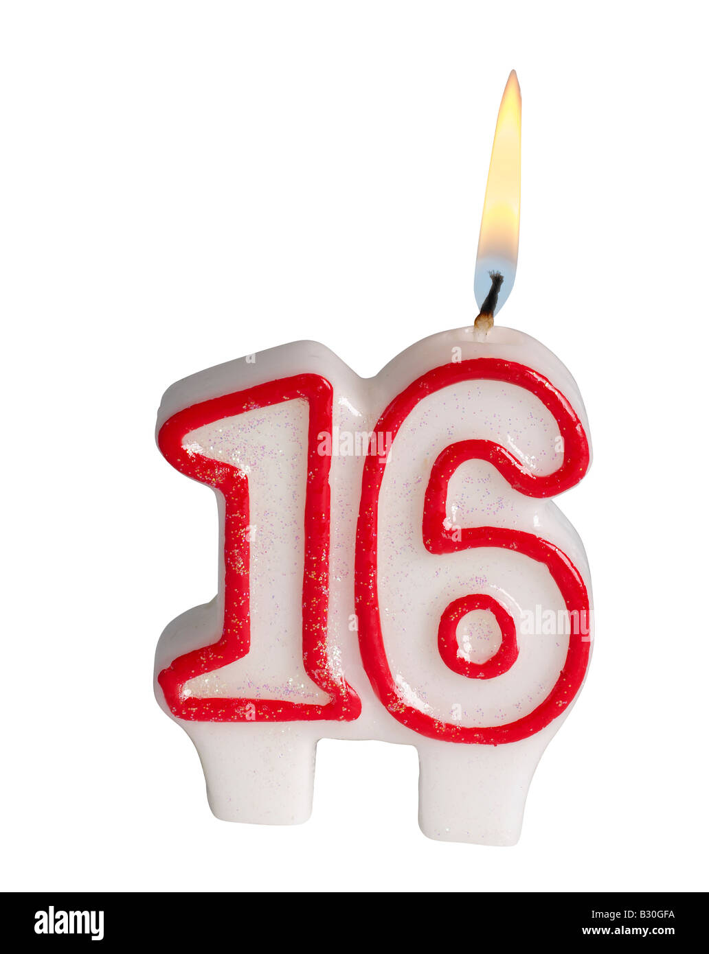 Number 16 candle - Stock Image