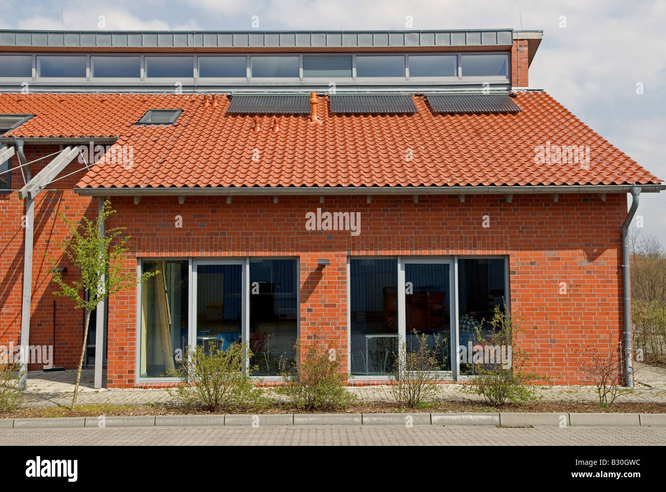 Environmentally friendly local council offices, with rainwater harvesting and solar heating, Oldenburg, Lower Saxony, Stock Photo