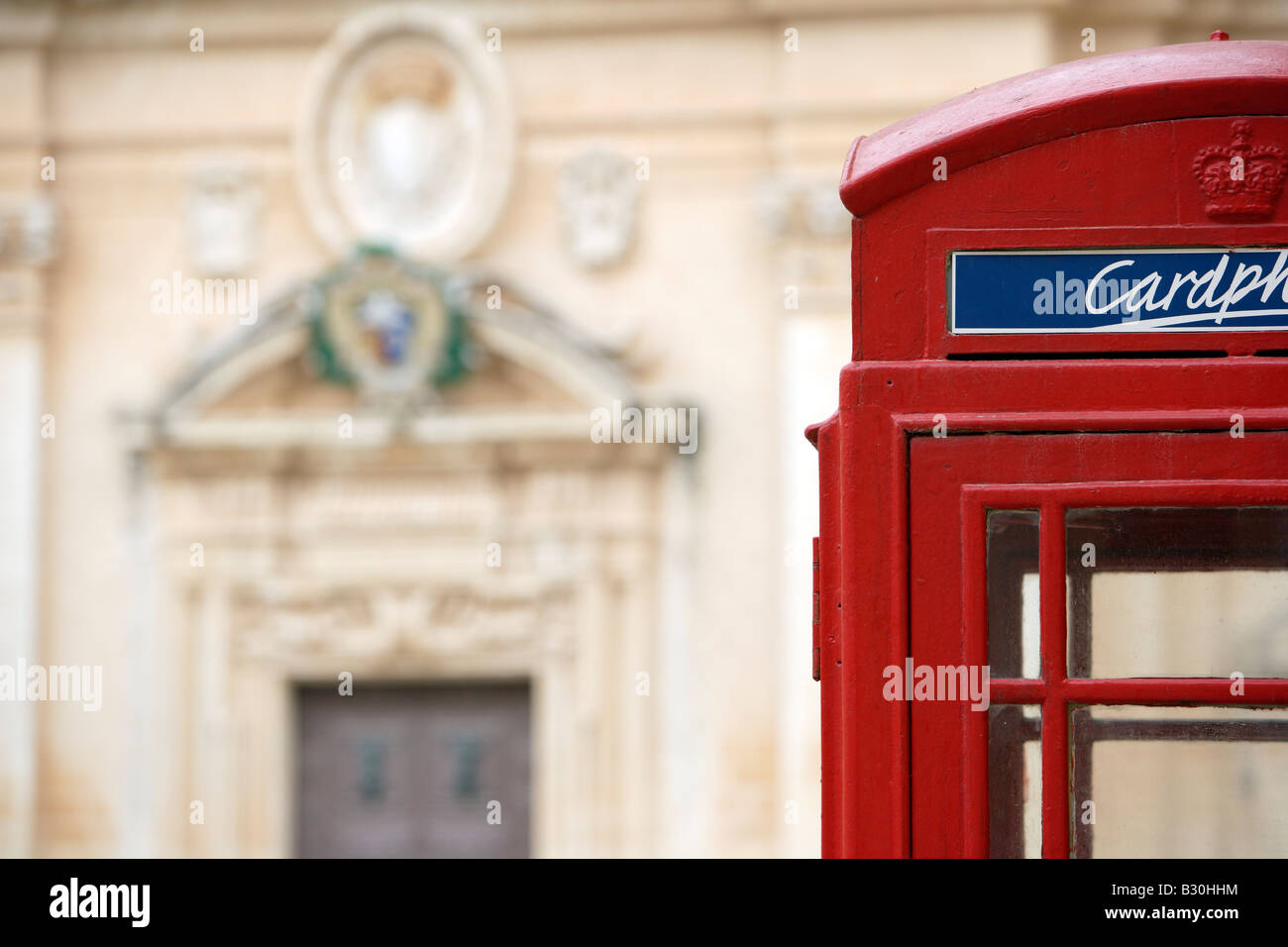 Mdina Cathedral and Red Telephone Box, Malta - Stock Image