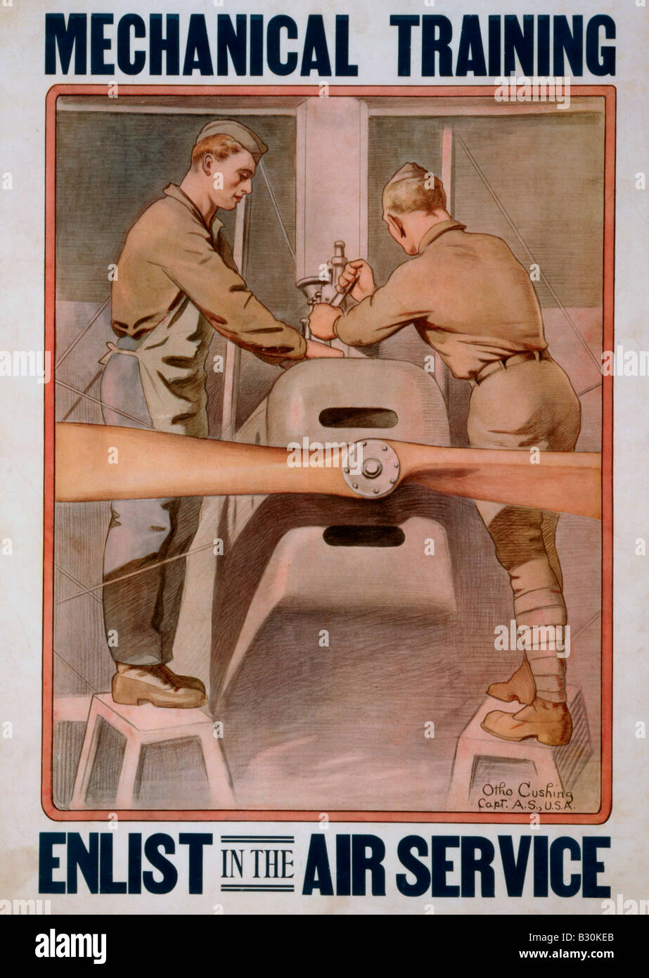 Mechanical Training - Enlist in the Air Service Recruiting Poster from World War I - Stock Image