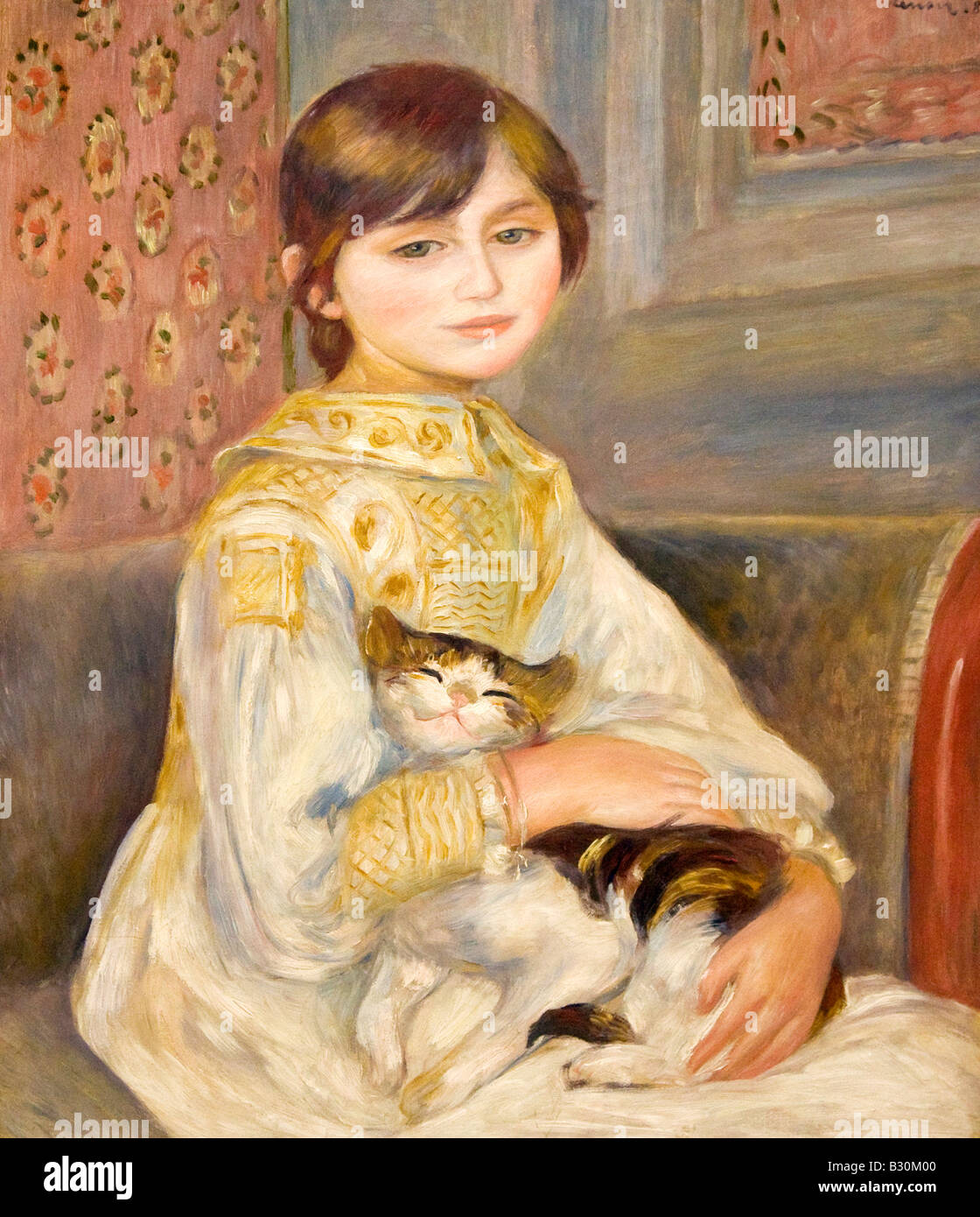 Pierre Auguste Renoir Child with Cat Julie Manet 1887 Musee D Orsay D Orsay Museum and Art Gallery Paris France - Stock Image