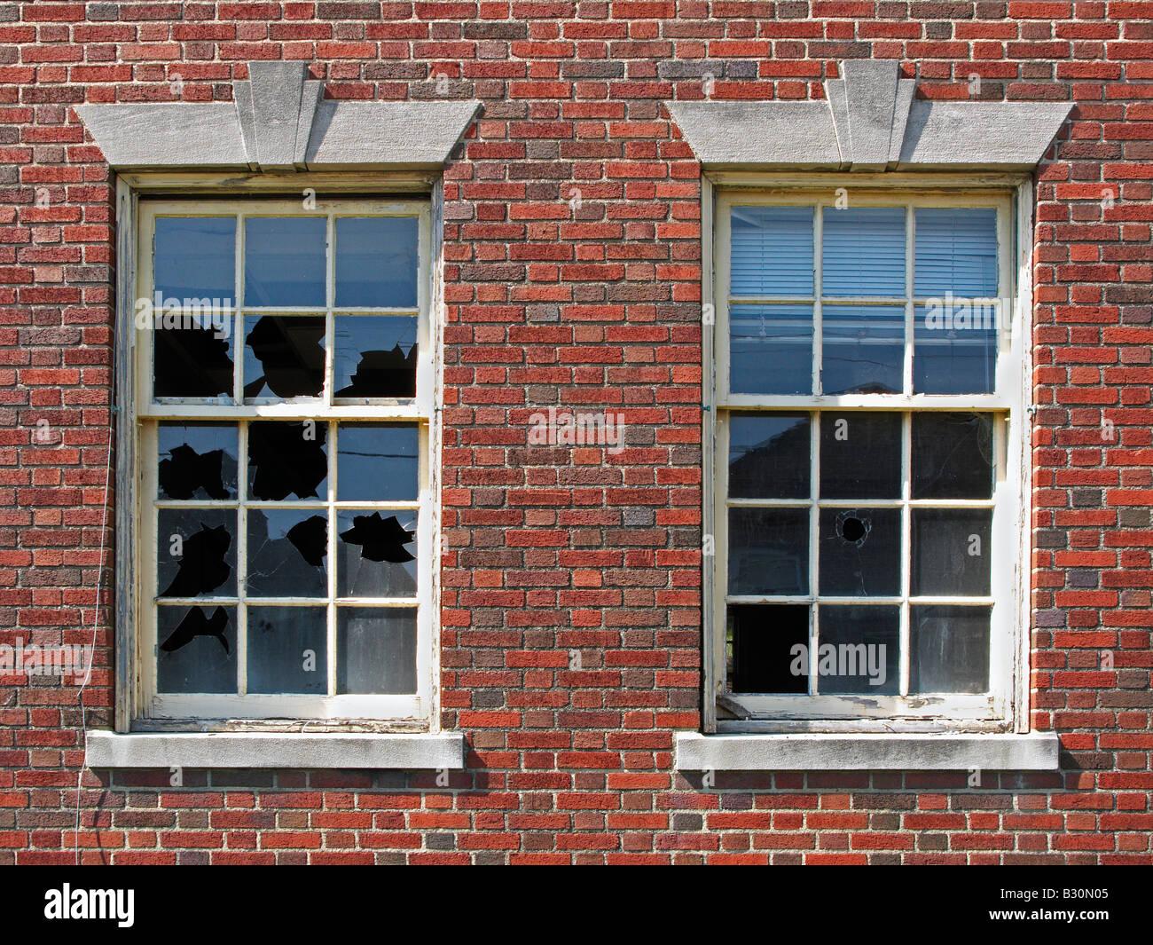 Old broken windows - Stock Image