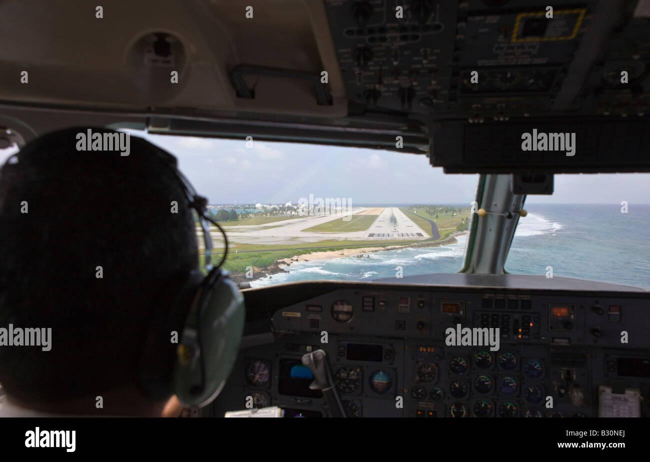 Landing approach on Kwajalein Marshall Islands Kwajalein Atoll Micronesia Pacific Ocean - Stock Image