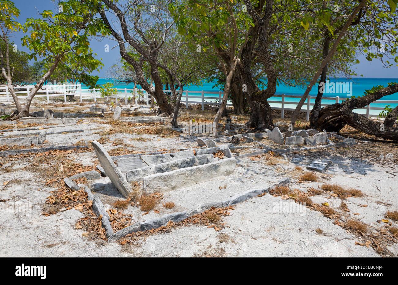 Old Cemetery on Bikini Marshall Islands Bikini Atoll Micronesia Pacific Ocean - Stock Image
