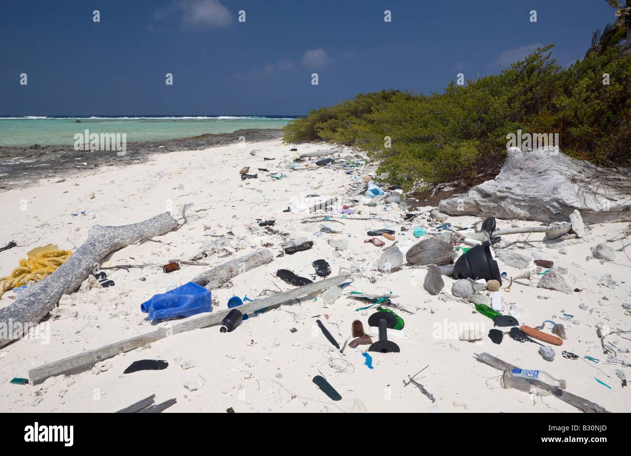 Rabbish of Civilisation washed up at Bikini Beach Marshall Islands Bikini Atoll Micronesia Pacific Ocean - Stock Image