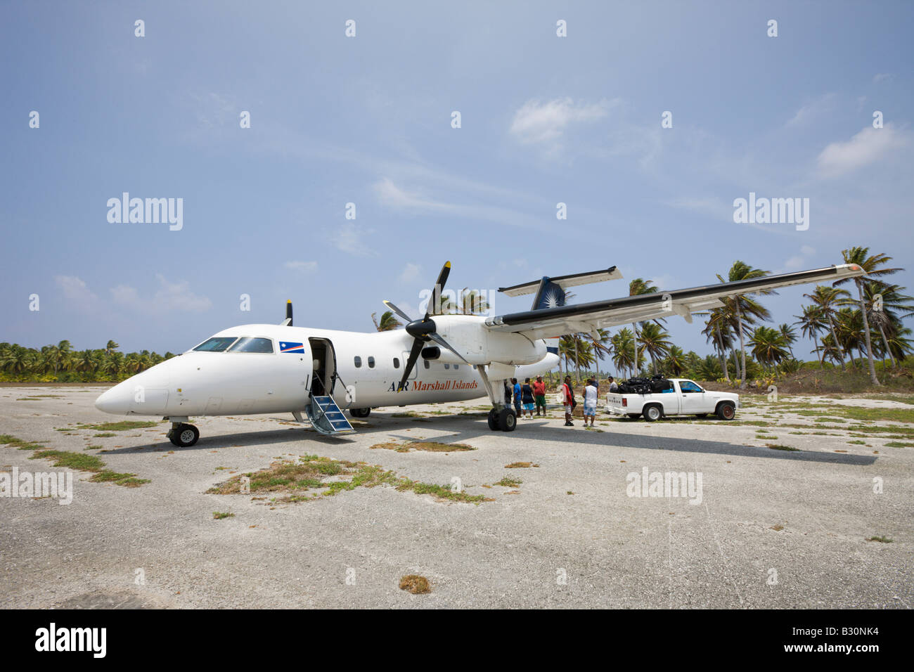 Airstrip at Neighboring Island of Bikini Marshall Islands Bikini Atoll Micronesia Pacific Ocean - Stock Image