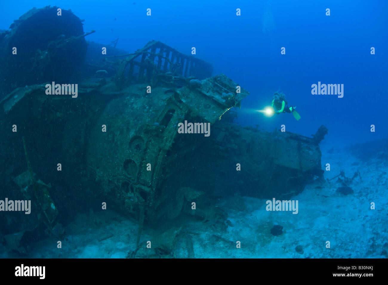 Diver at Bridge of Destroyer USS Anderson Marshall Islands Bikini Atoll Micronesia Pacific Ocean - Stock Image