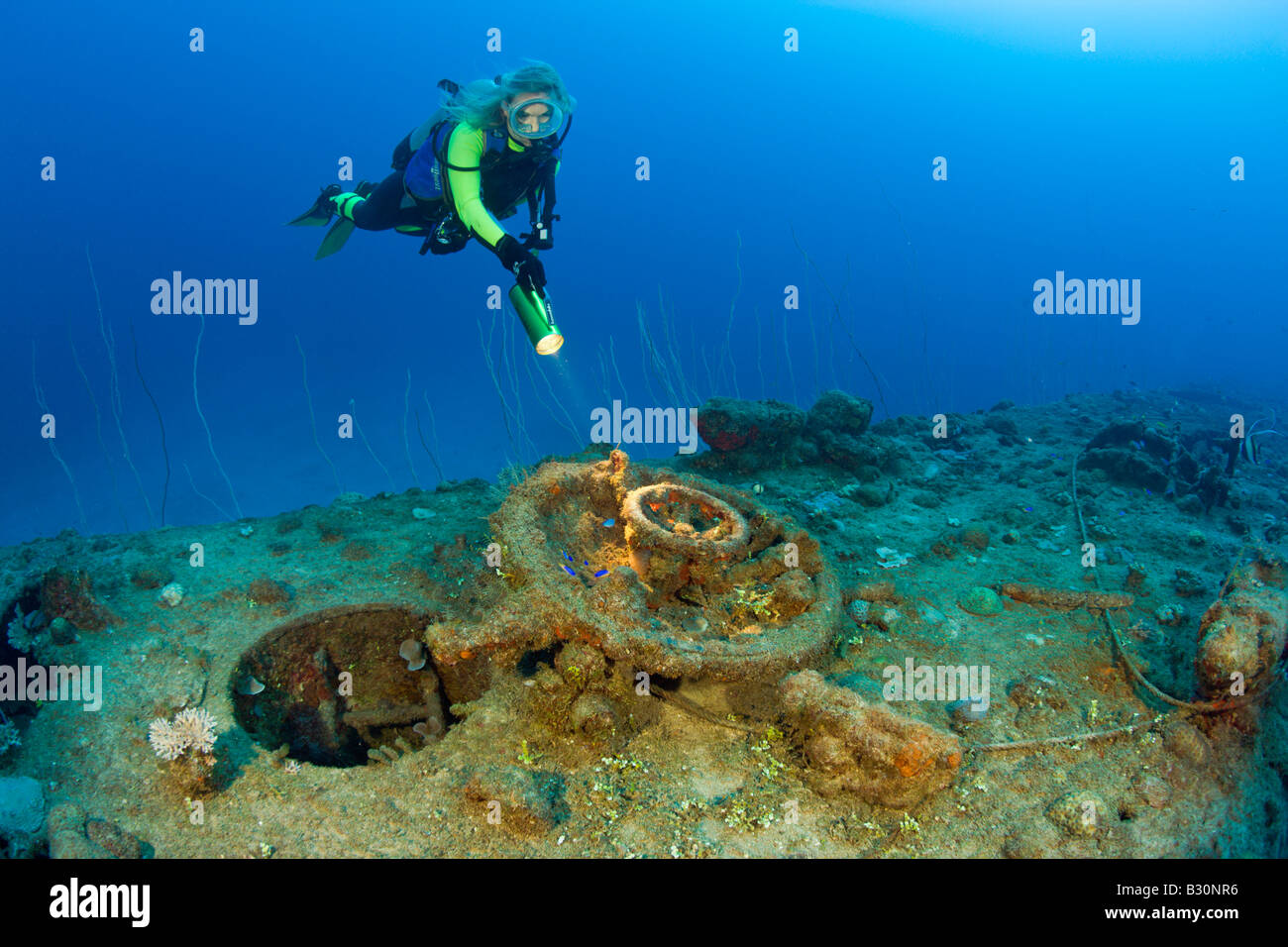 Diver and Hatch of USS Apogon Submarine Marshall Islands Bikini Atoll Micronesia Pacific Ocean - Stock Image