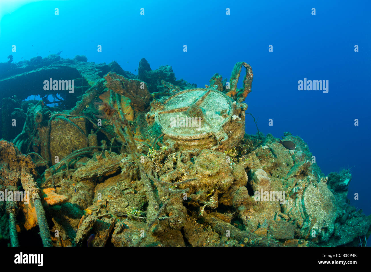 Wreckage of USS Saratoga Marshall Islands Bikini Atoll Micronesia Pacific Ocean - Stock Image