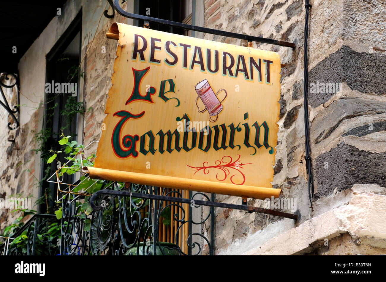 FRENCH RESTAURANT SIGN - Stock Image