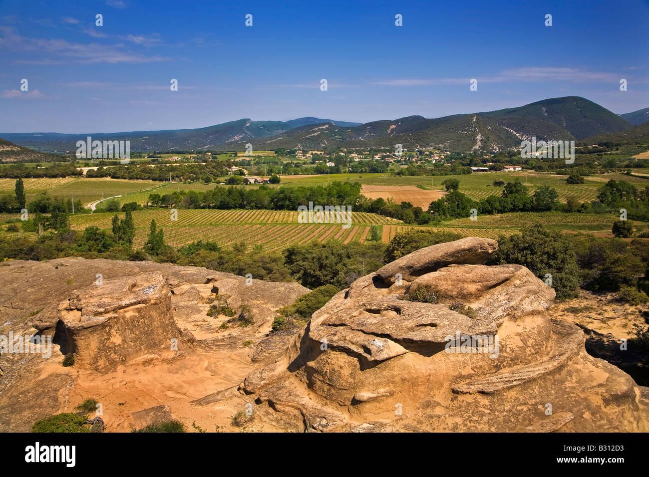 Strangely Shaped Rocks, from Water Erosion, Near Rousset des Vignes, Provence, France - Stock Image