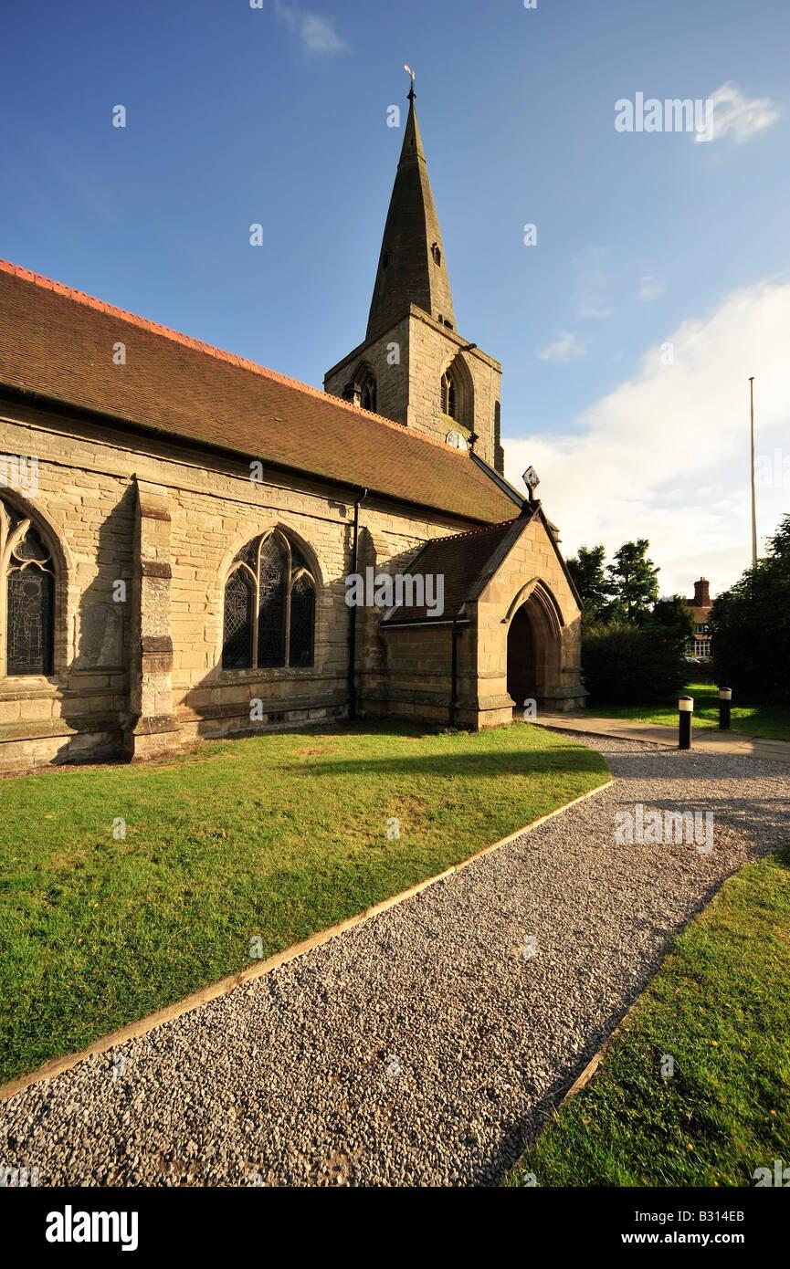 churchyard; tanworth in arden; church; rural; green; outdoors; landscape; common; market; united; kingdom; uk; british; - Stock Image