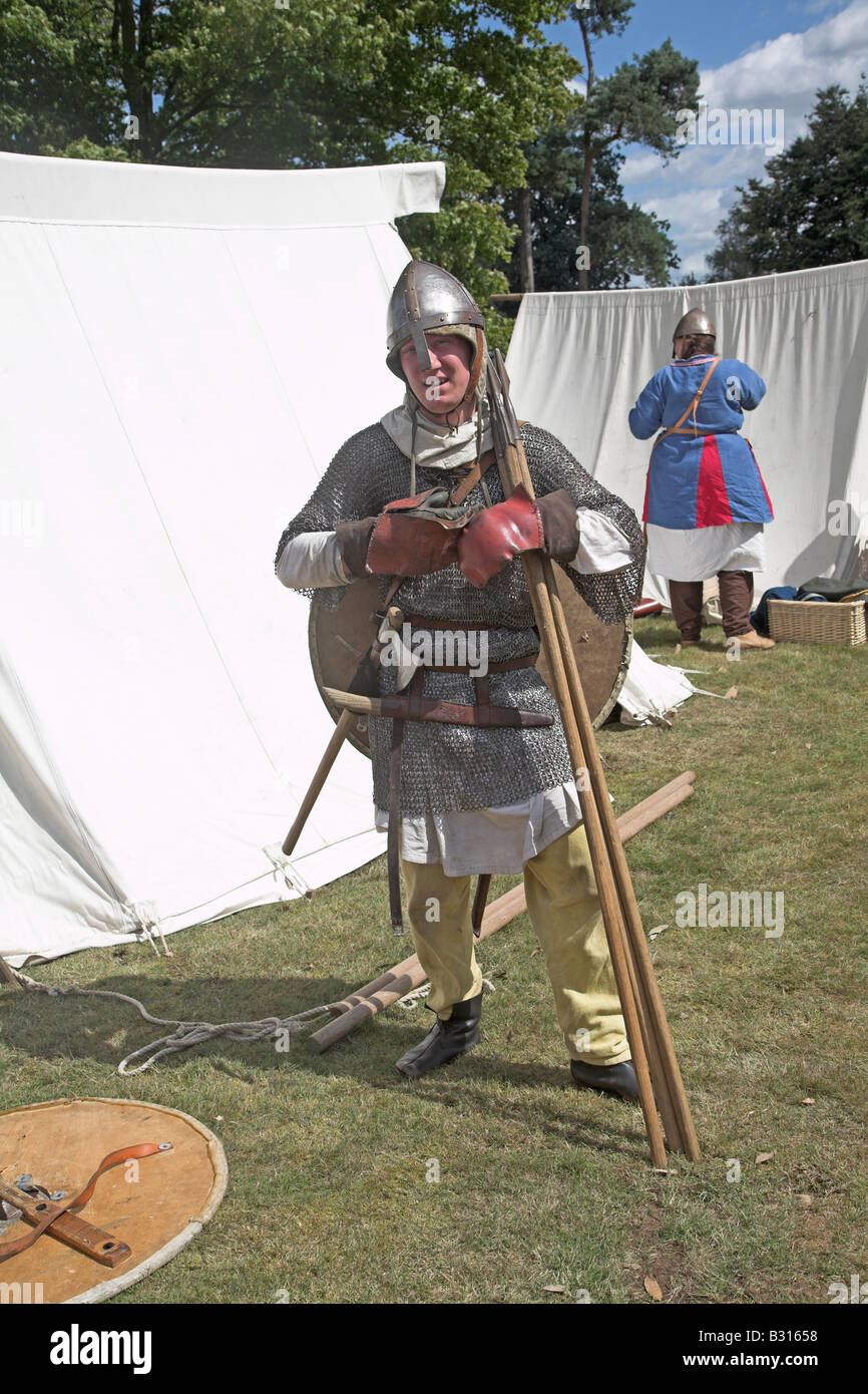 Anglo-Saxon soldier at re-enactment - Stock Image