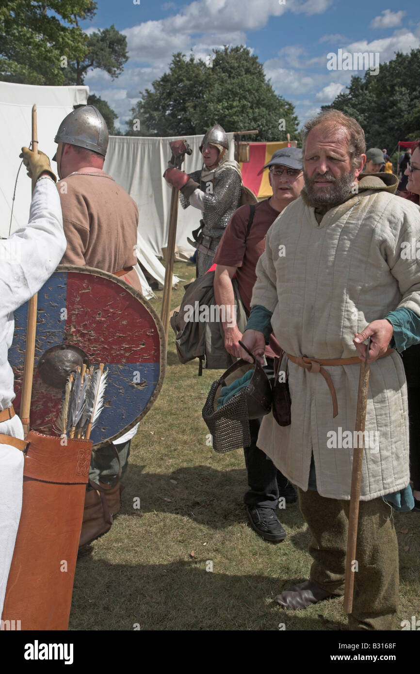 Anglo-Saxon soldiers at re-enactment - Stock Image