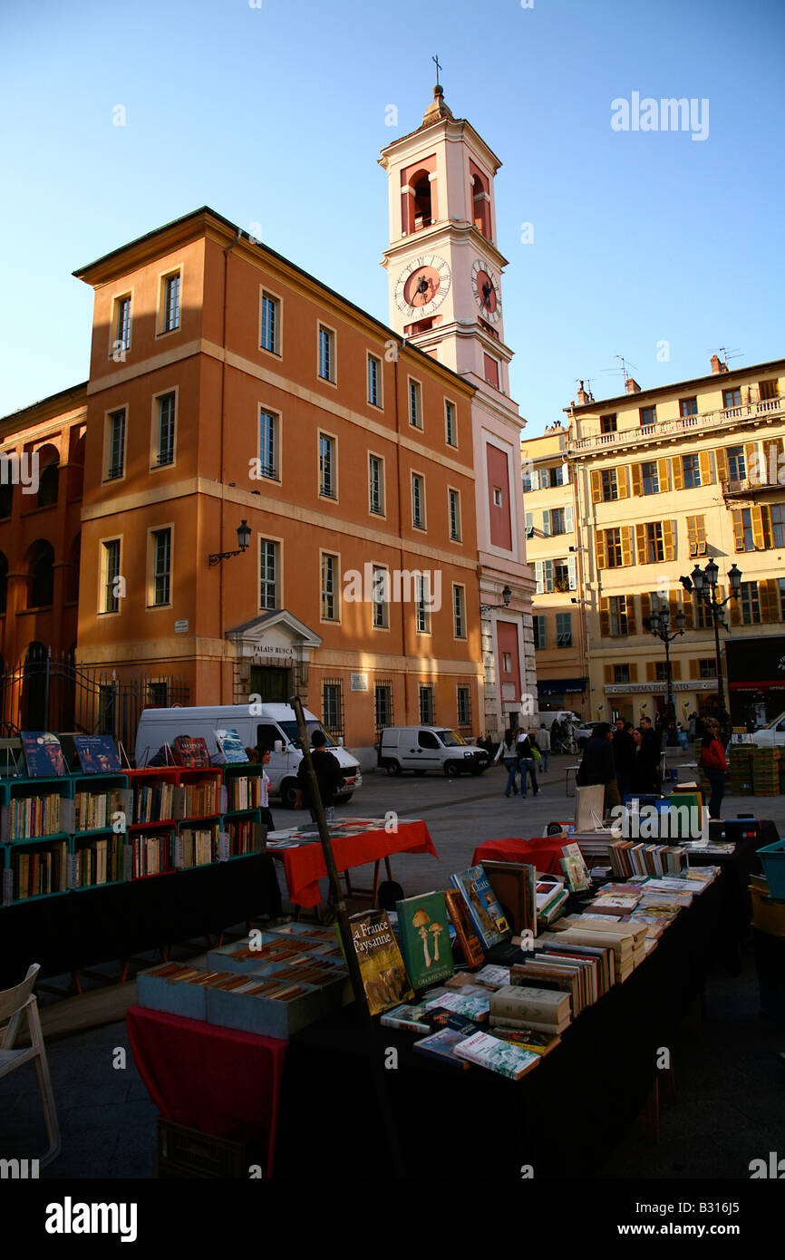 Book Market in Place Rosetti in the heart of the old town of Vieux Nice, Cote d'Azur, France - Stock Image