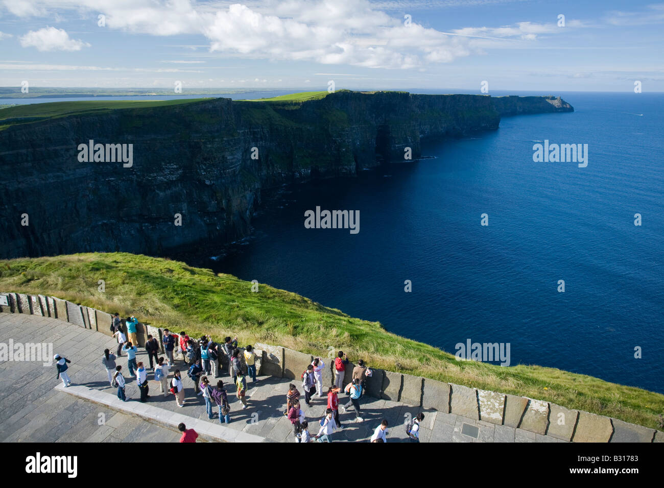 View over the Cliffs of Moher from from O Brien's Tower, County Clare, Ireland. - Stock Image