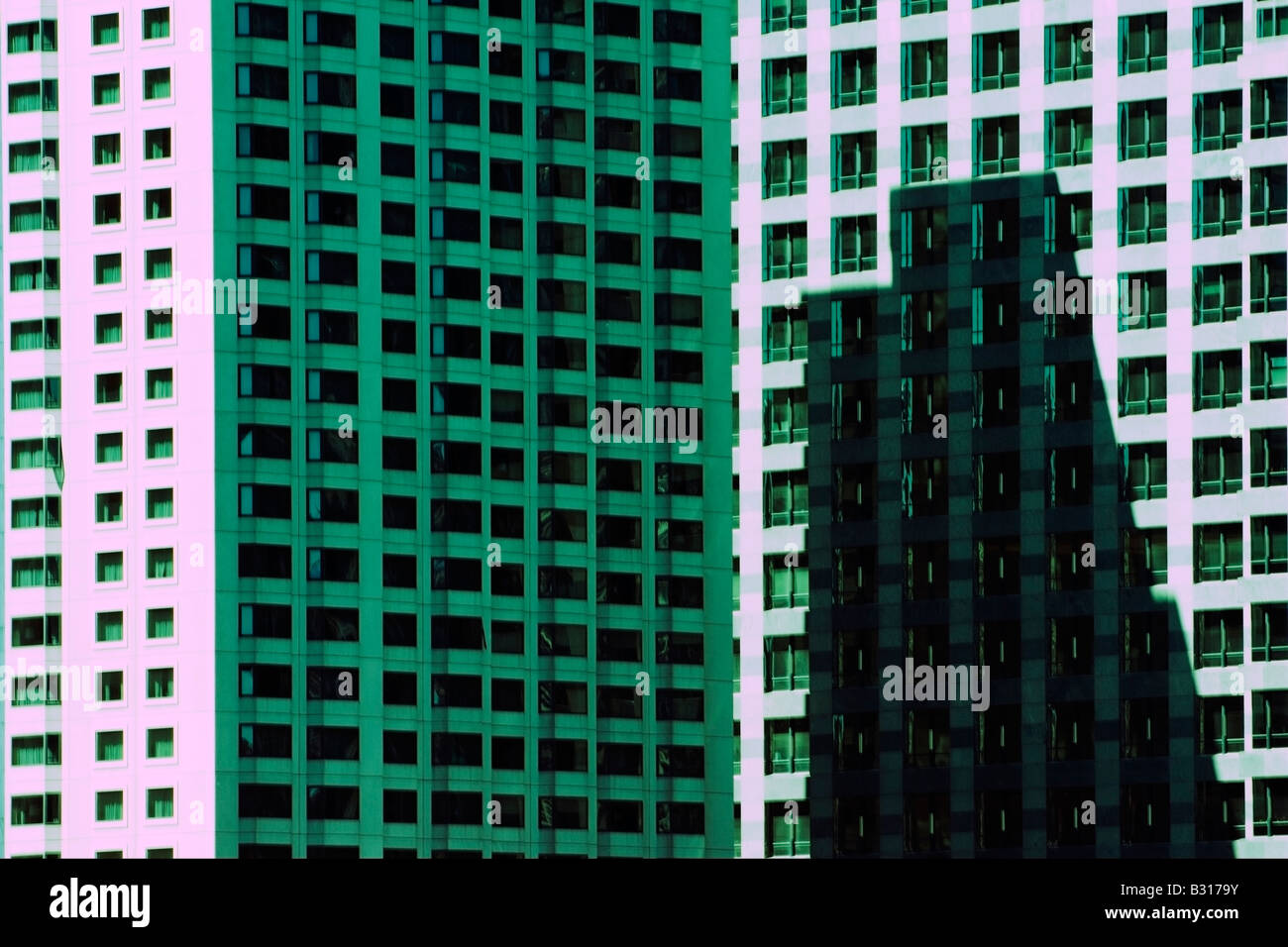 Patterns and shapes formed by Chicago architecture - Stock Image