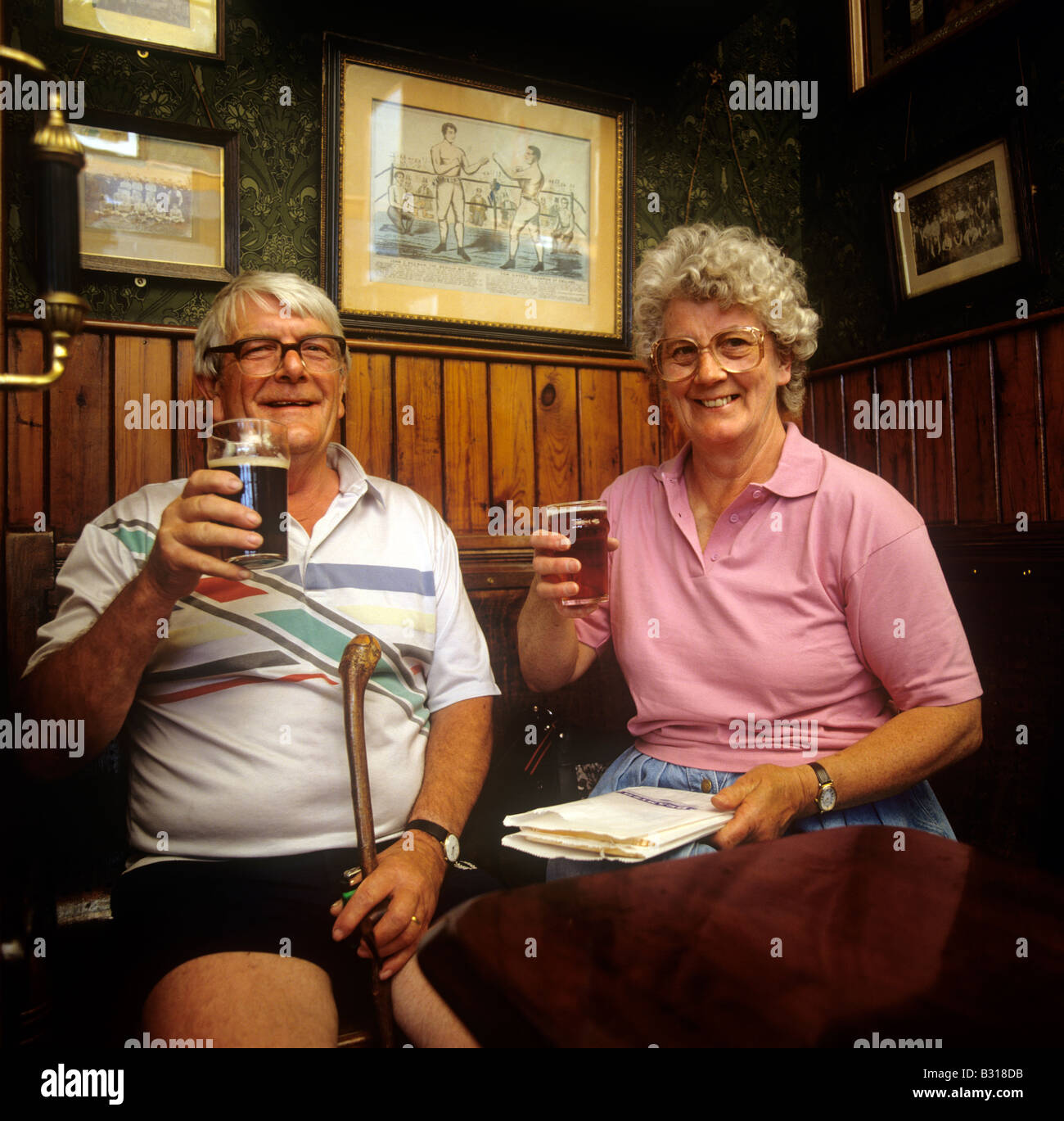 UK England County Durham Beamish Open Air Museum Peter and Sheila Ashby drinking in Sun Inn - Stock Image