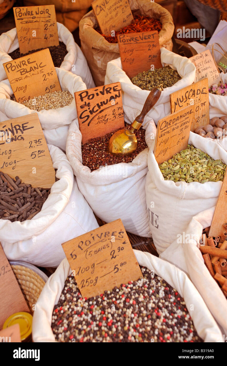 HERBS AND SPICES STALL IN FRENCH MARKET - Stock Image