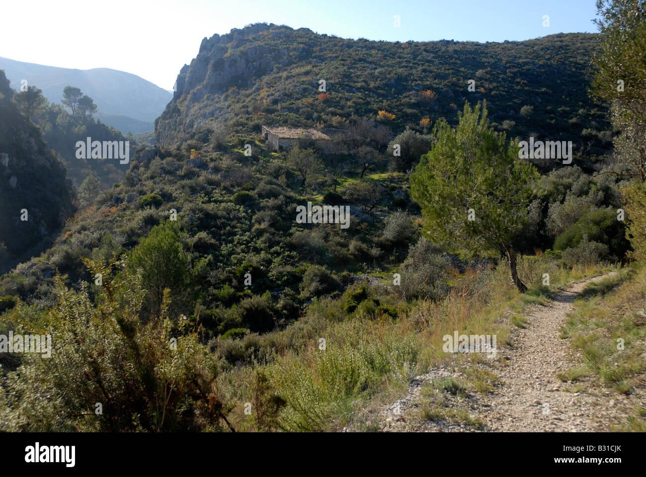 path leading down to Els Tolls, near Vall de Ebo, Marina Alta, Alicante Prov. Comunidad Valenciana, Spain - Stock Image