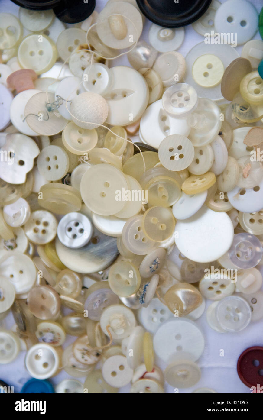 mainly white buttons - Stock Image