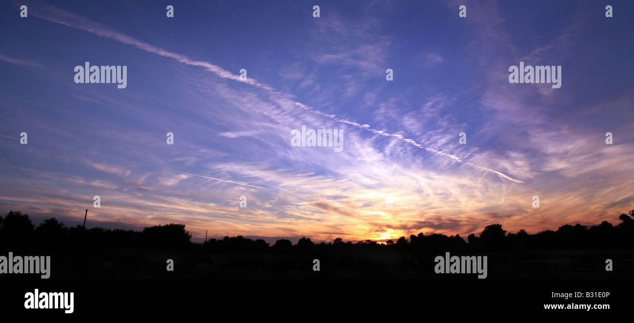 Lavenham Suffolk Sunset over agricultural land - Stock Image
