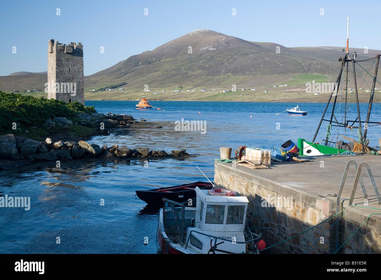 Kildavnet castle and pier, Achill Island, County Mayo, Ireland. - Stock Image