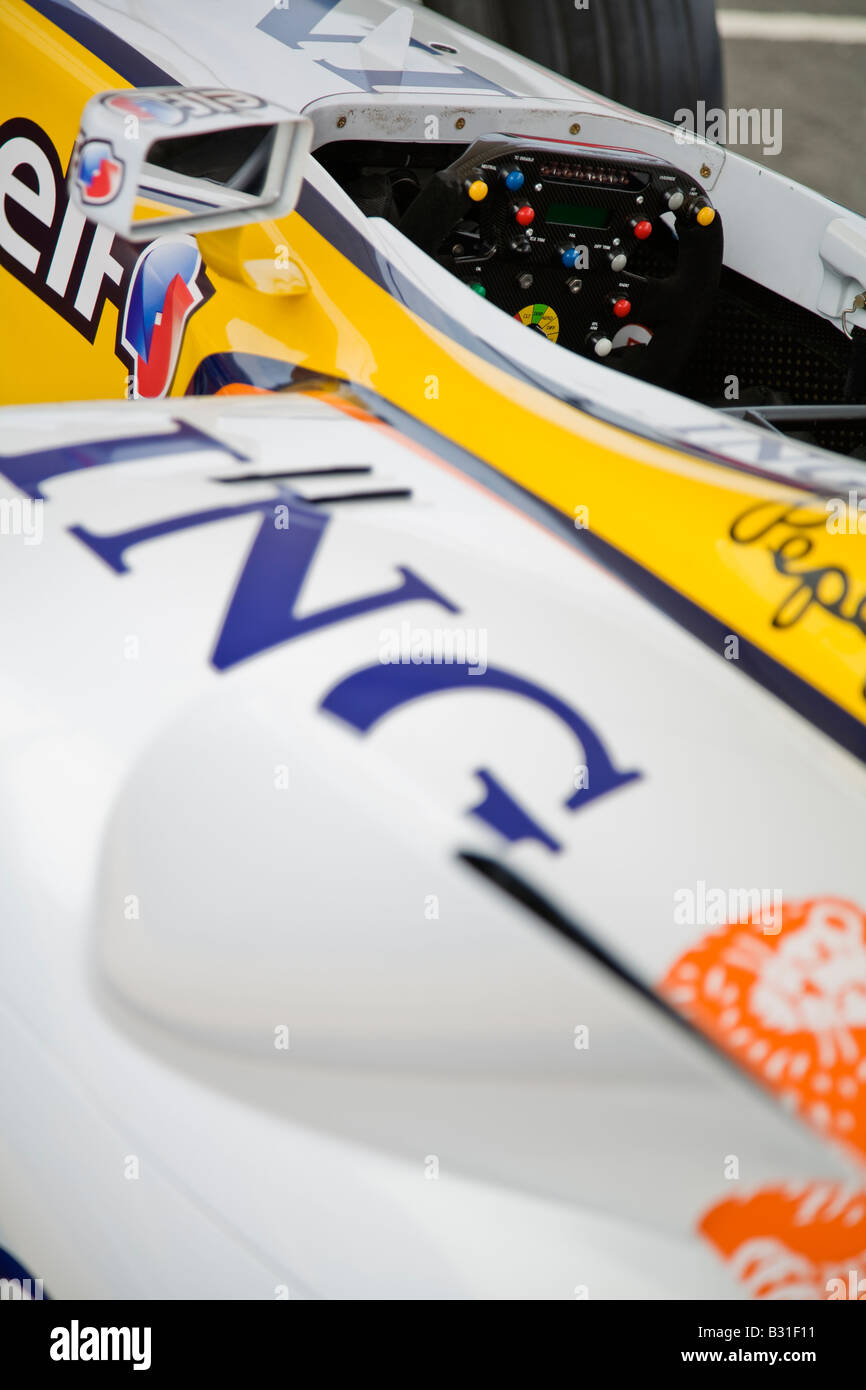 Renault Elf R28 Formula 1 One car cockpit, steering wheel and wing mirror - Stock Image